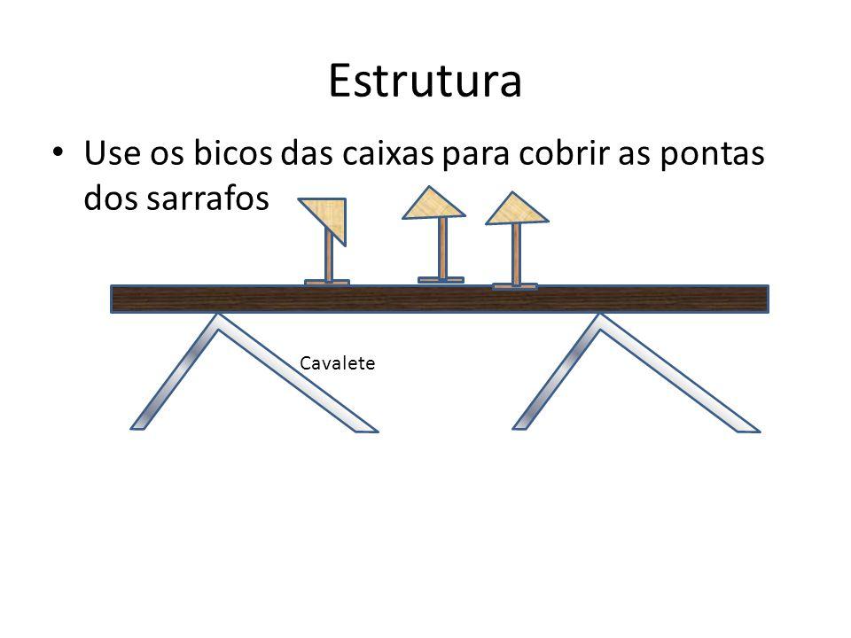 Estrutura Use os bicos das caixas para cobrir as pontas dos sarrafos