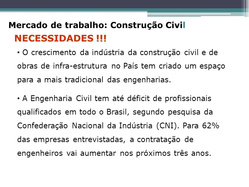 NECESSIDADES !!! Mercado de trabalho: Construção Civil