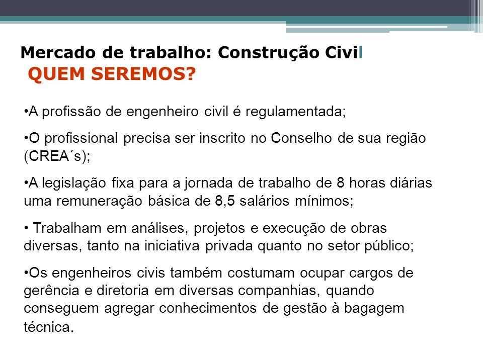 QUEM SEREMOS Mercado de trabalho: Construção Civil