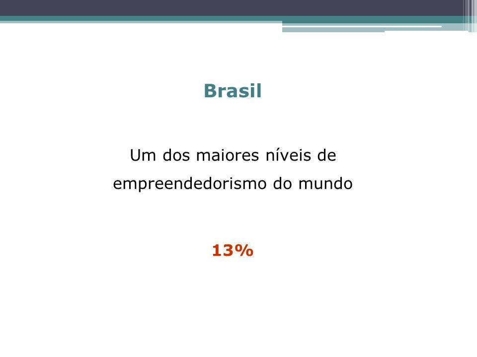 Brasil Um dos maiores níveis de empreendedorismo do mundo 13%