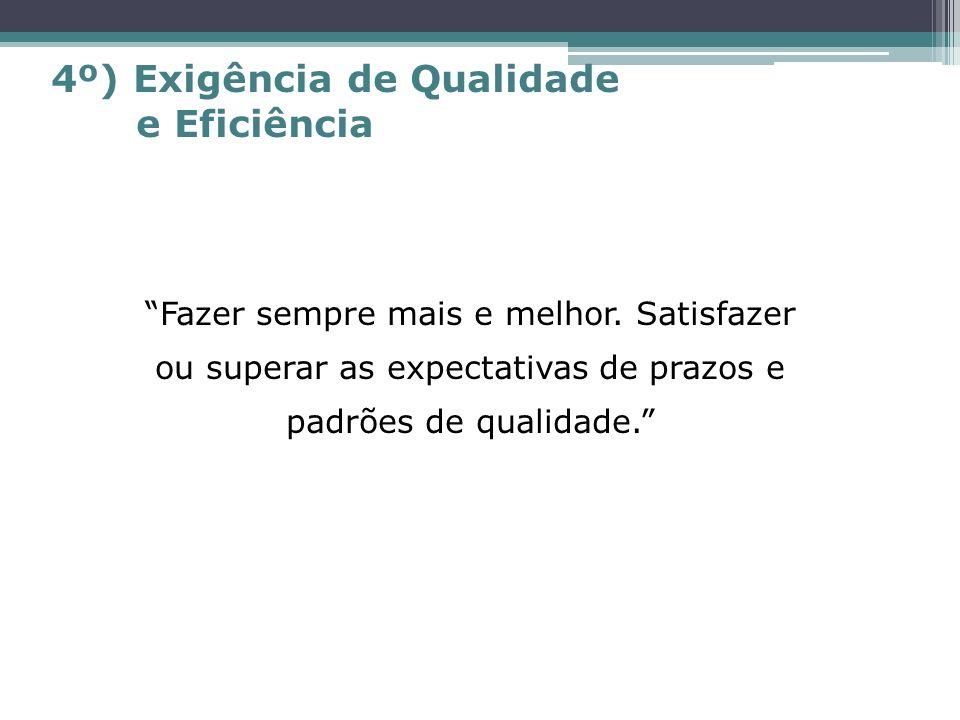 4º) Exigência de Qualidade e Eficiência