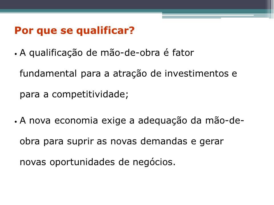 Por que se qualificar A qualificação de mão-de-obra é fator fundamental para a atração de investimentos e para a competitividade;