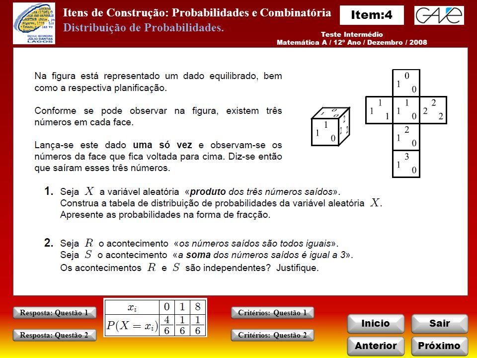 Matemática A / 12º Ano / Dezembro / 2008