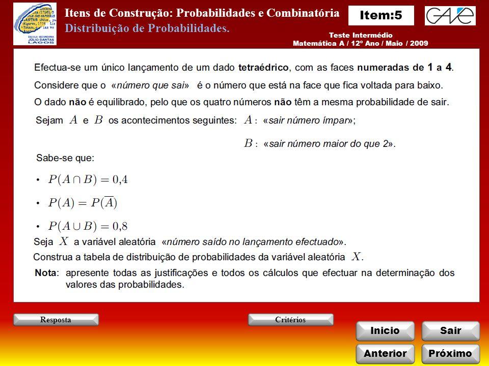 Matemática A / 12º Ano / Maio / 2009