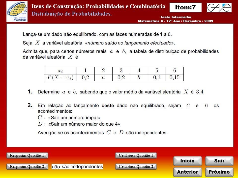 Matemática A / 12º Ano / Dezembro / 2009