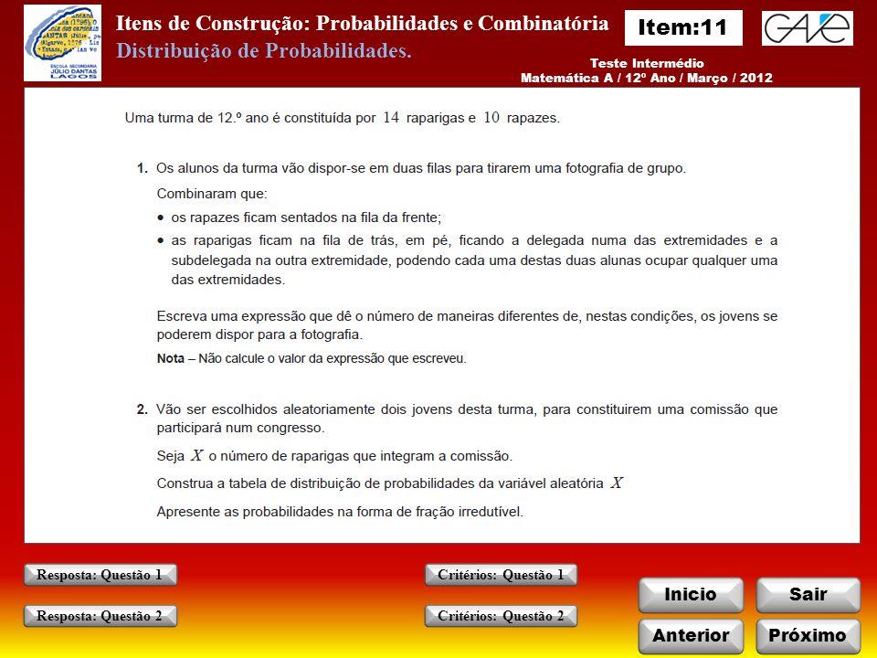 Matemática A / 12º Ano / Março / 2012