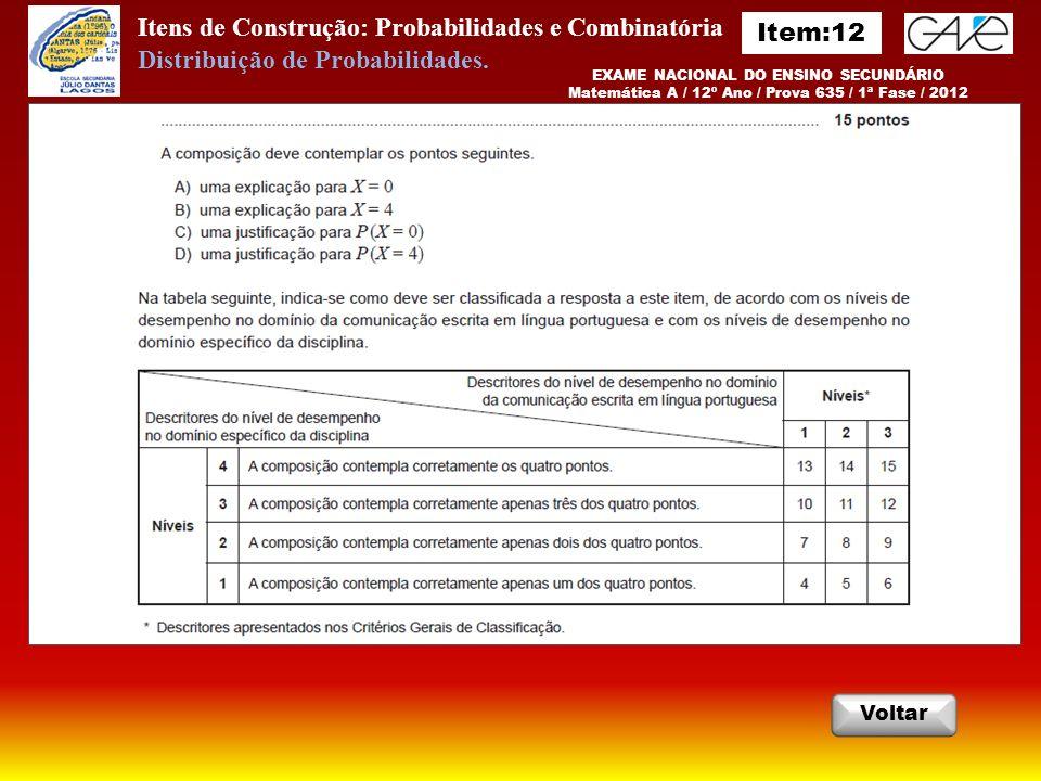 Itens de Construção: Probabilidades e Combinatória Item:12