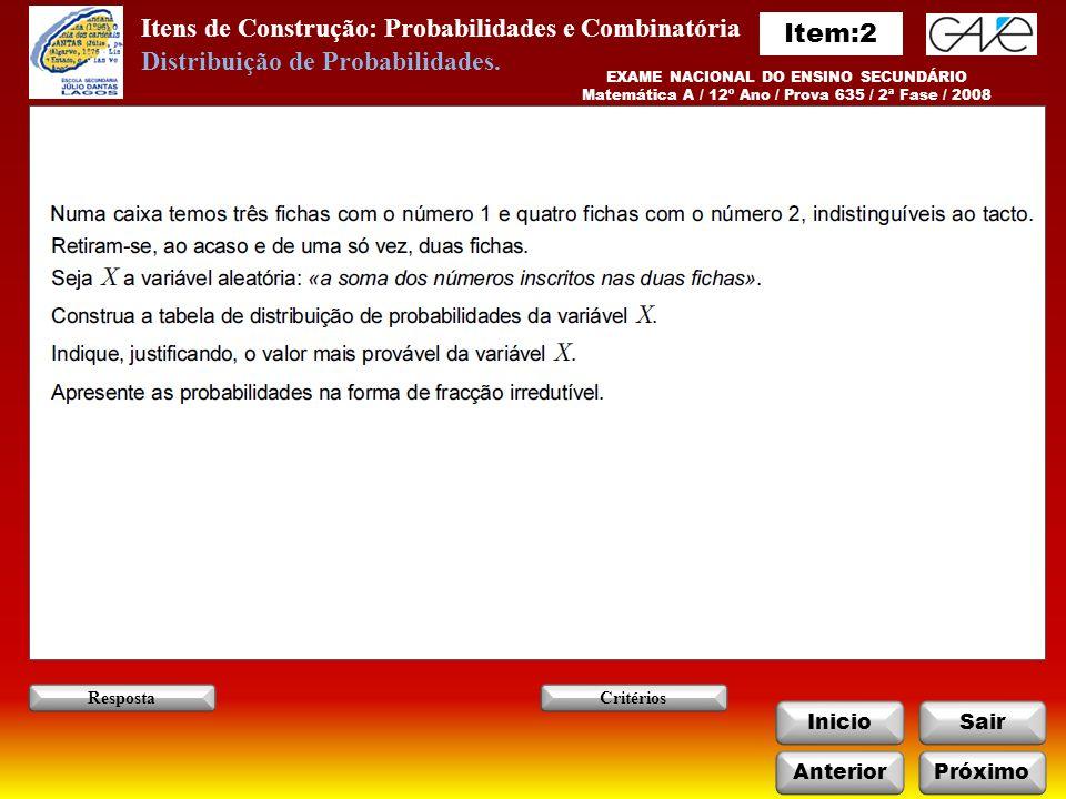 Itens de Construção: Probabilidades e Combinatória Item:2