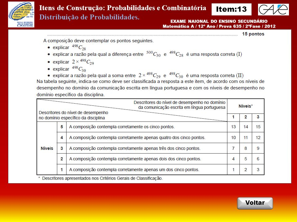 Itens de Construção: Probabilidades e Combinatória Item:13