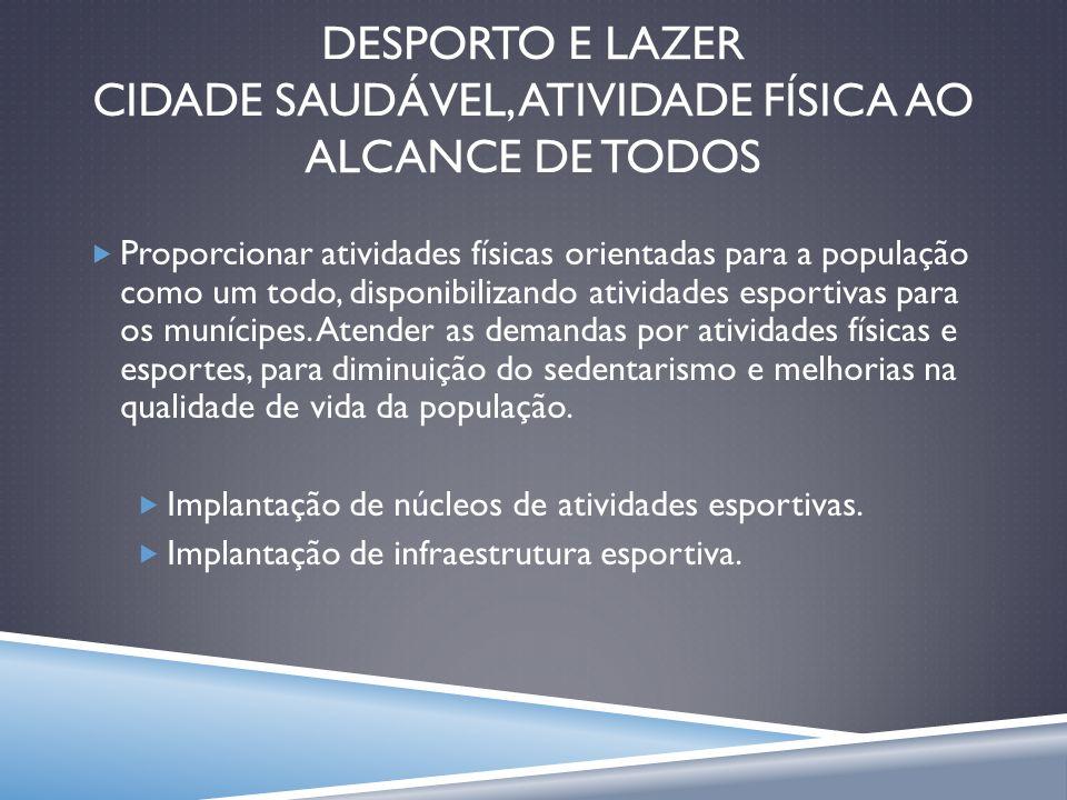 DESPORTO E LAZER CIDADE SAUDÁVEL, ATIVIDade FÍSICA AO ALCANCE DE TODOS
