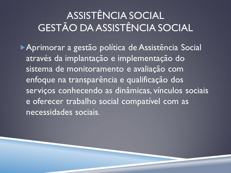 ASSISTÊNCIA SOCIAL GESTÃO DA ASSISTÊNCIA SOCIAL