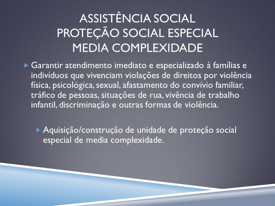 ASSISTÊNCIA SOCIAL PROTEÇÃO SOCIAL ESPECIAL MEDIA COMPLEXIDADE
