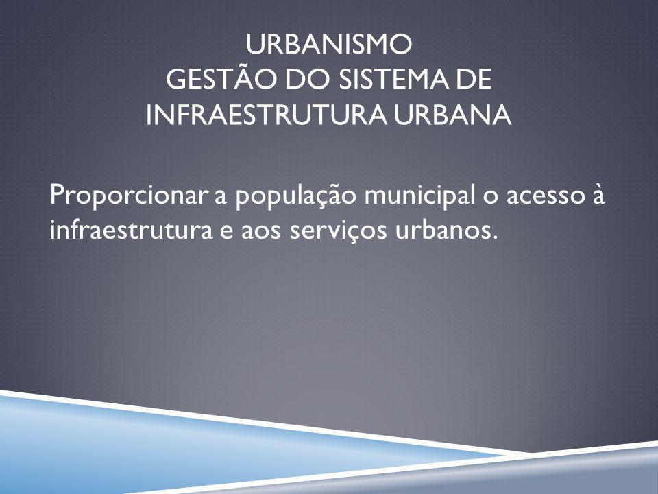 URBANISMO GESTÃO DO SISTEMA DE INFRAESTRUTURA URBANA
