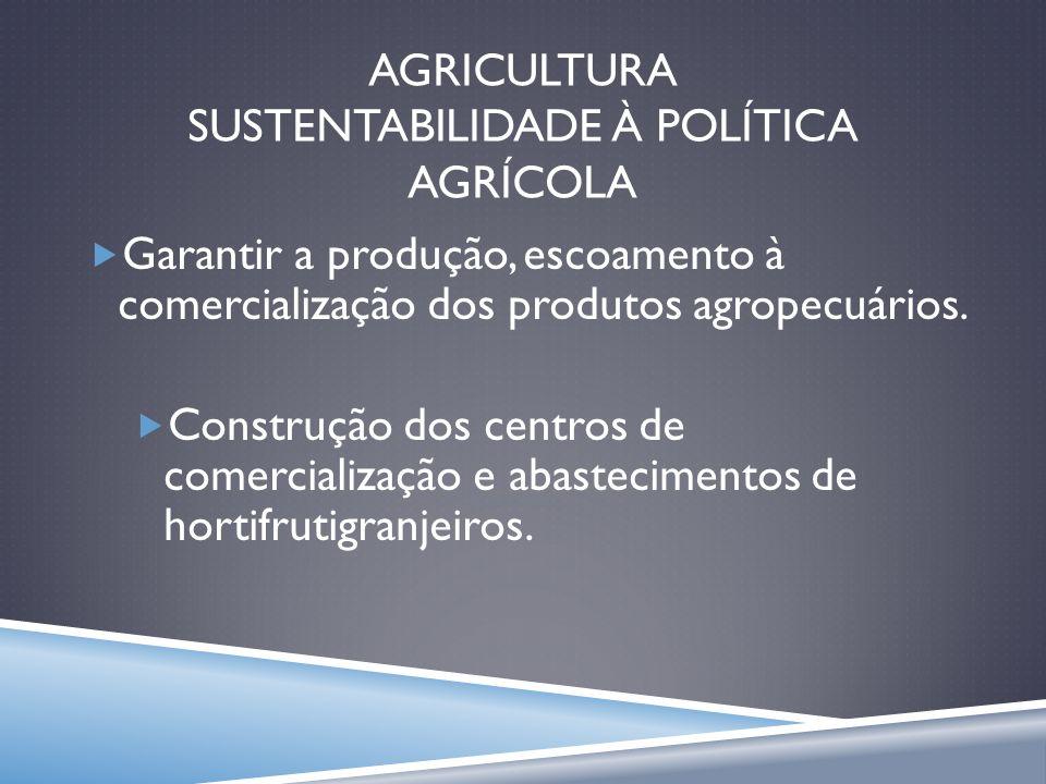 AGRICULTURA SUSTENTABILIDADE À POLÍTICA AGRÍCOLA