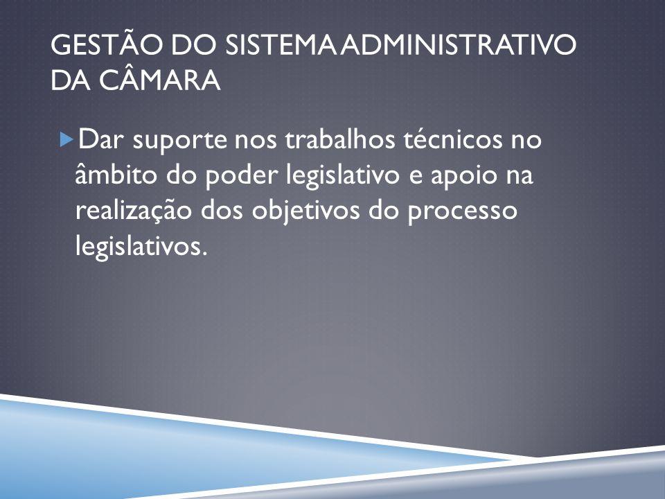 GESTÃO DO SISTEMA ADMINISTRATIVO DA CÂMARA