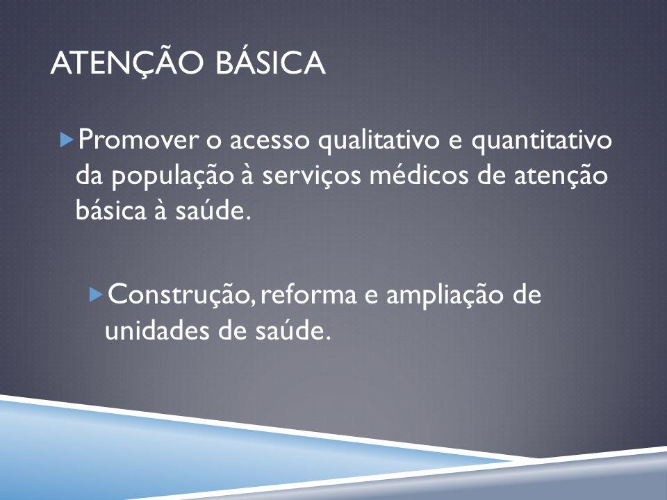 ATENÇÃO BÁSICA Promover o acesso qualitativo e quantitativo da população à serviços médicos de atenção básica à saúde.