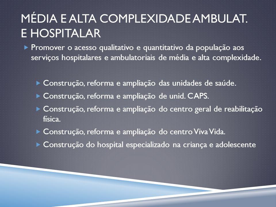 MÉDIA E ALTA COMPLEXIDADE AMBULAT. E HOSPITALAR