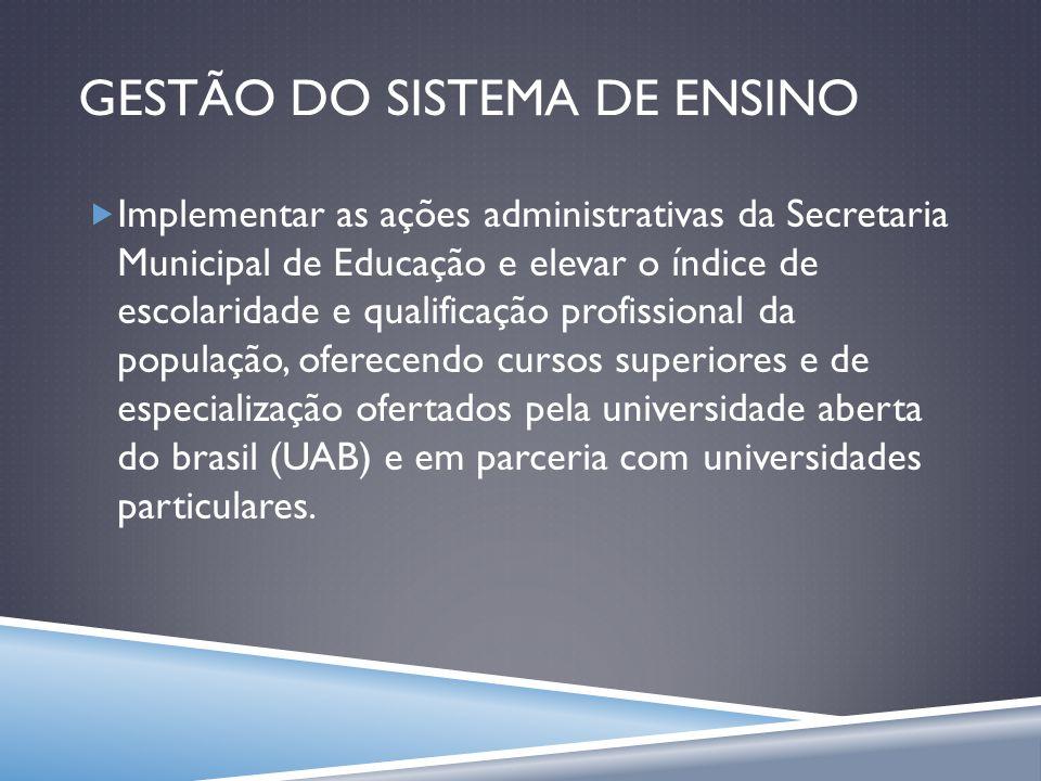GESTÃO DO SISTEMA DE ENSINO