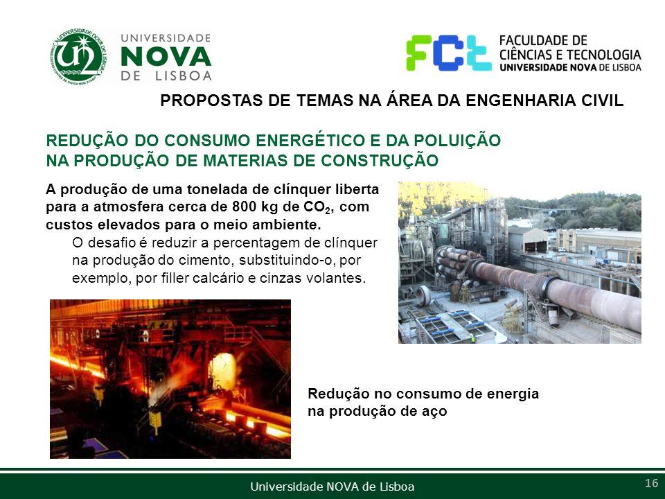 PROPOSTAS DE TEMAS NA ÁREA DA ENGENHARIA CIVIL