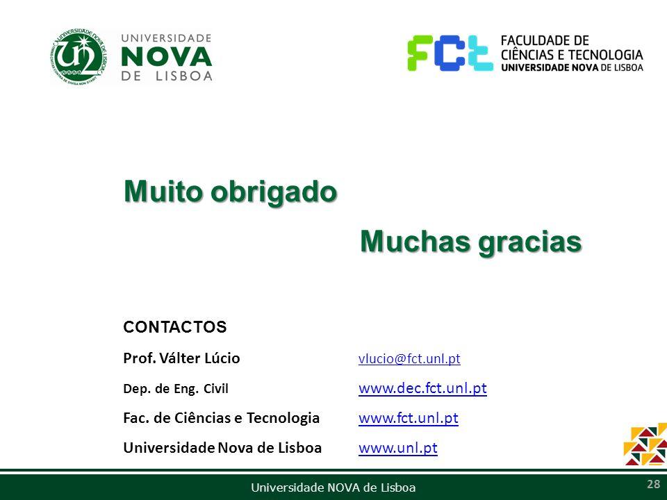 Muito obrigado Muchas gracias CONTACTOS