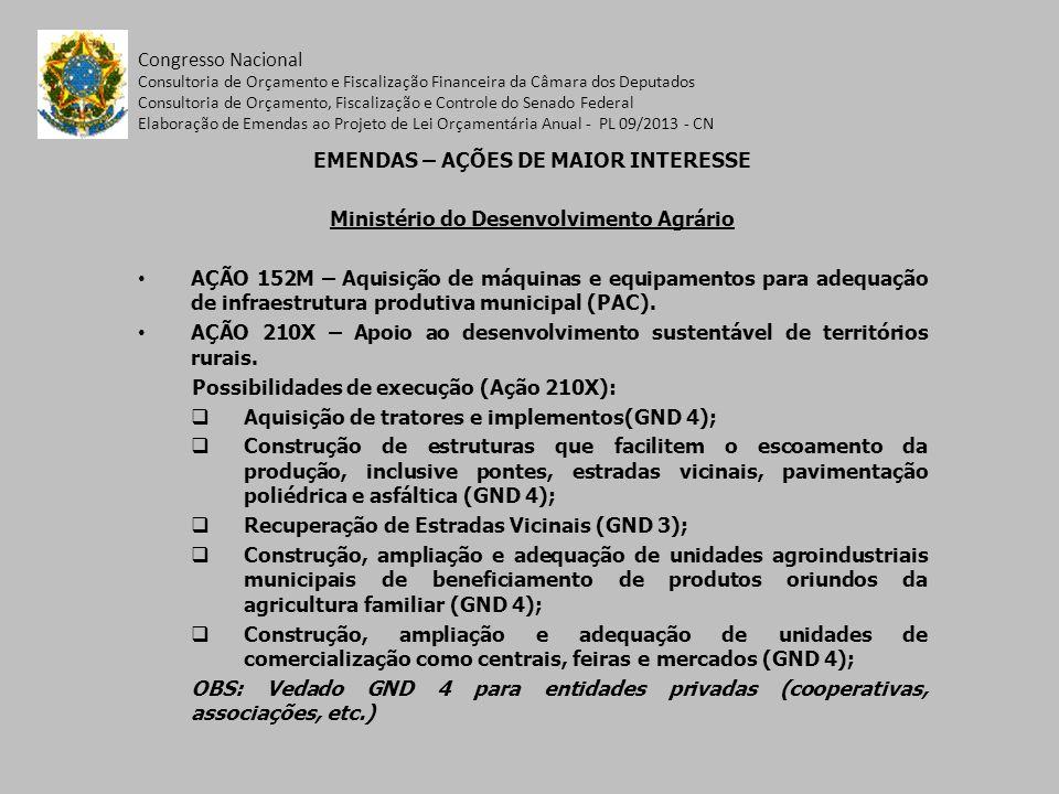 EMENDAS – AÇÕES DE MAIOR INTERESSE