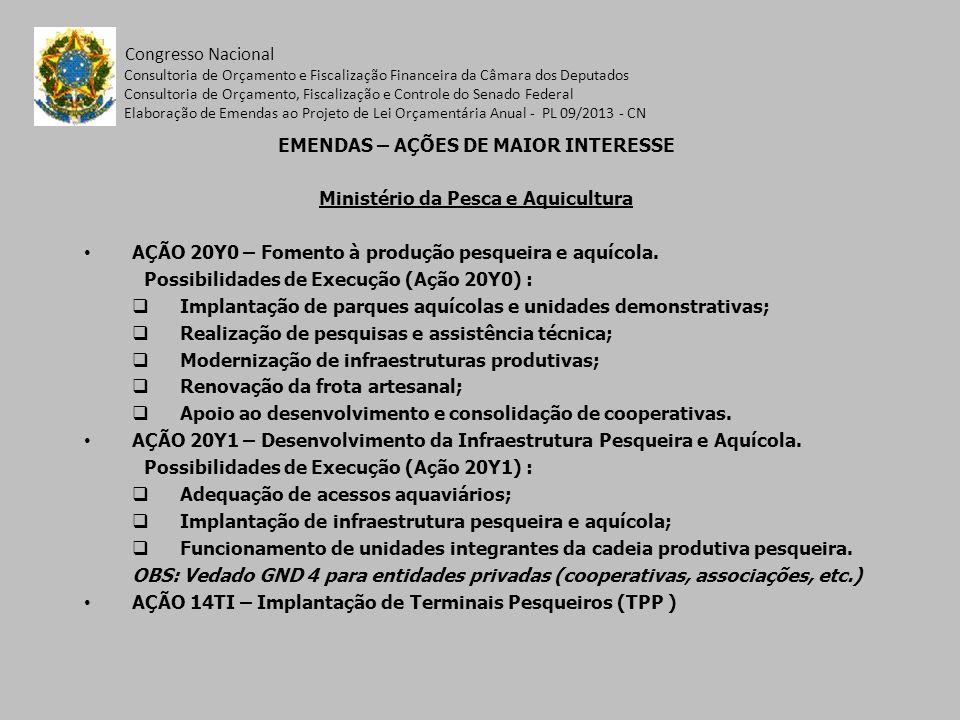 EMENDAS – AÇÕES DE MAIOR INTERESSE Ministério da Pesca e Aquicultura