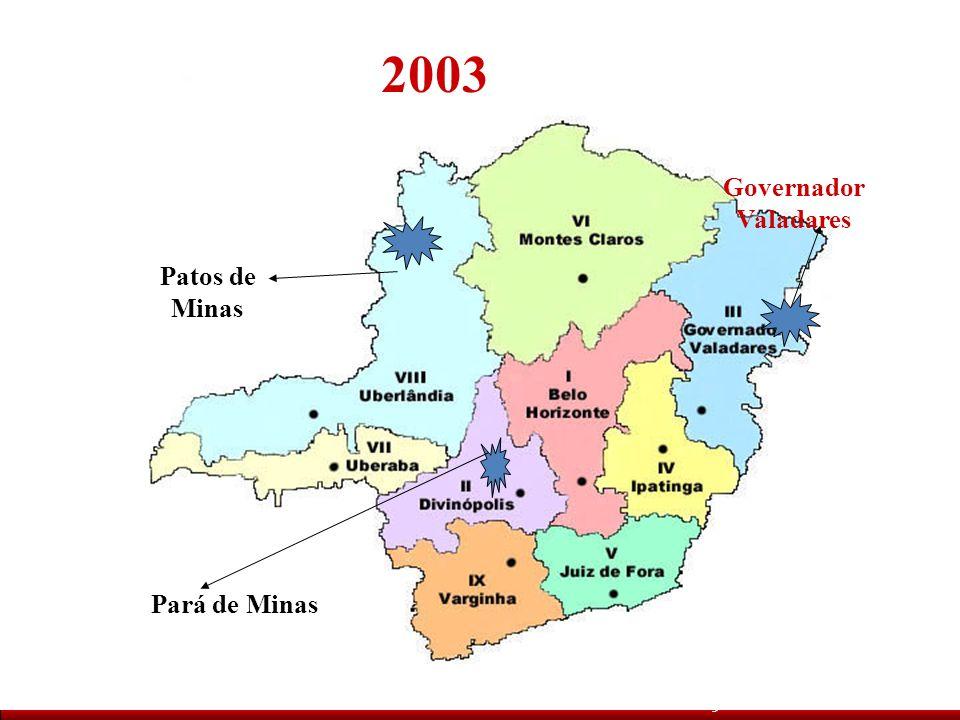 2003 Pará de Minas Governador Valadares Patos de Minas Metodologia