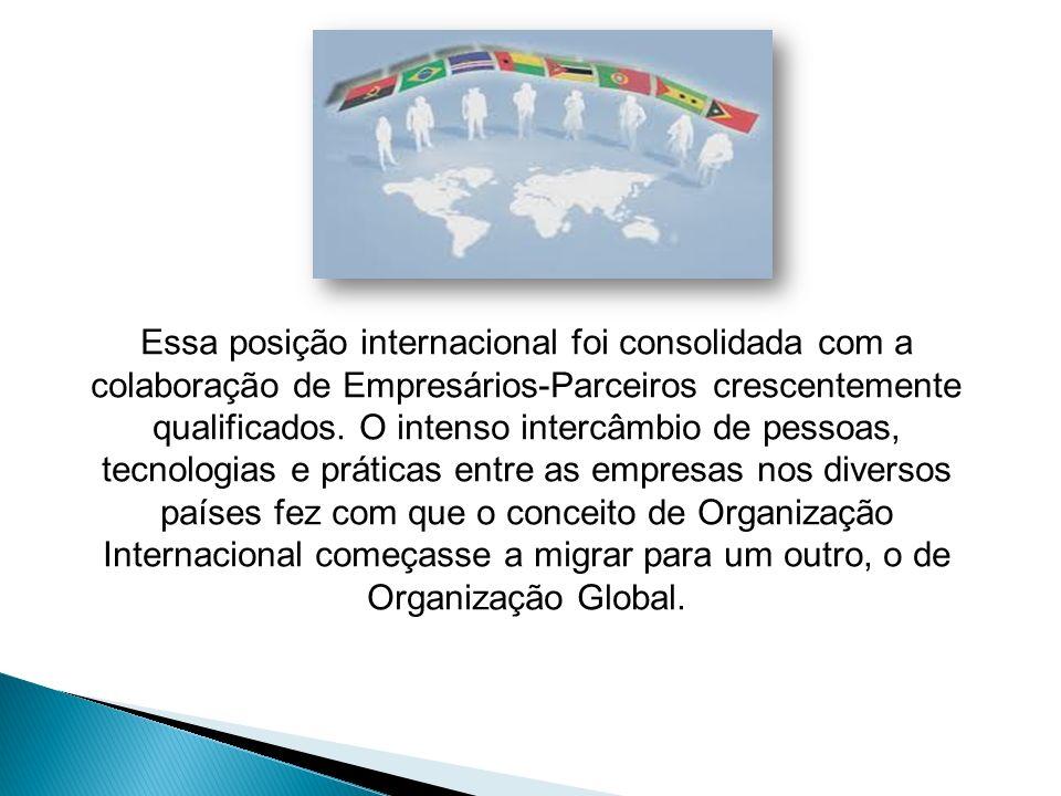 Essa posição internacional foi consolidada com a colaboração de Empresários-Parceiros crescentemente qualificados.