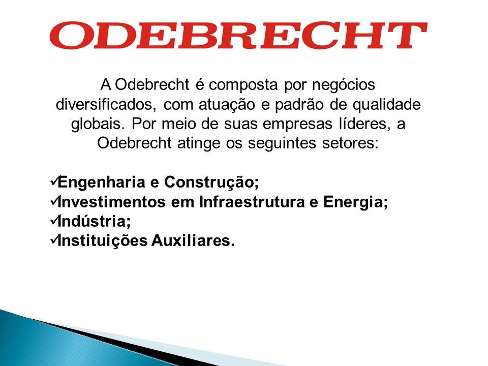 A Odebrecht é composta por negócios diversificados, com atuação e padrão de qualidade globais. Por meio de suas empresas líderes, a Odebrecht atinge os seguintes setores: