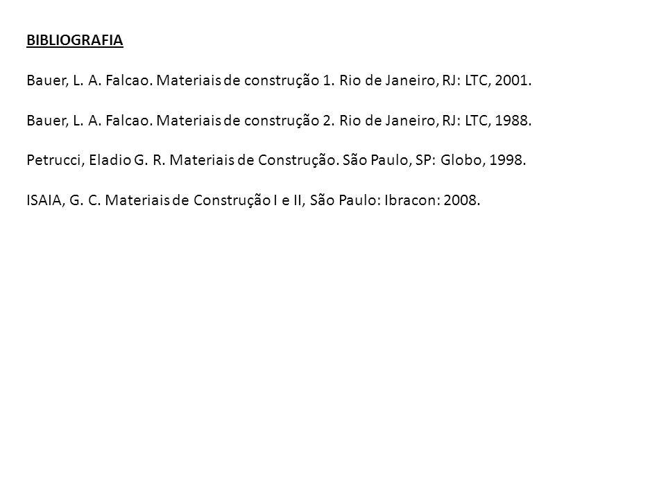 BIBLIOGRAFIA Bauer, L. A. Falcao. Materiais de construção 1. Rio de Janeiro, RJ: LTC, 2001.
