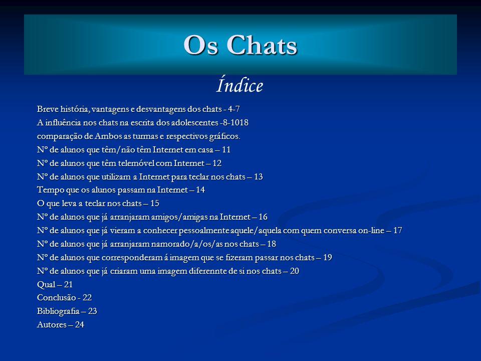 Os Chats Índice. Breve história, vantagens e desvantagens dos chats - 4-7. A influência nos chats na escrita dos adolescentes -8-1018.