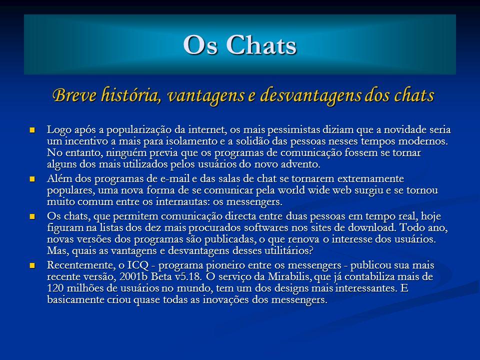 Breve história, vantagens e desvantagens dos chats