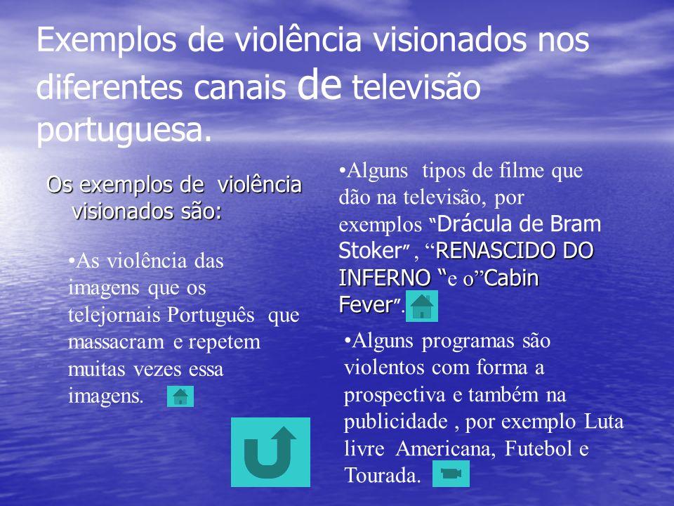 Exemplos de violência visionados nos diferentes canais de televisão portuguesa.