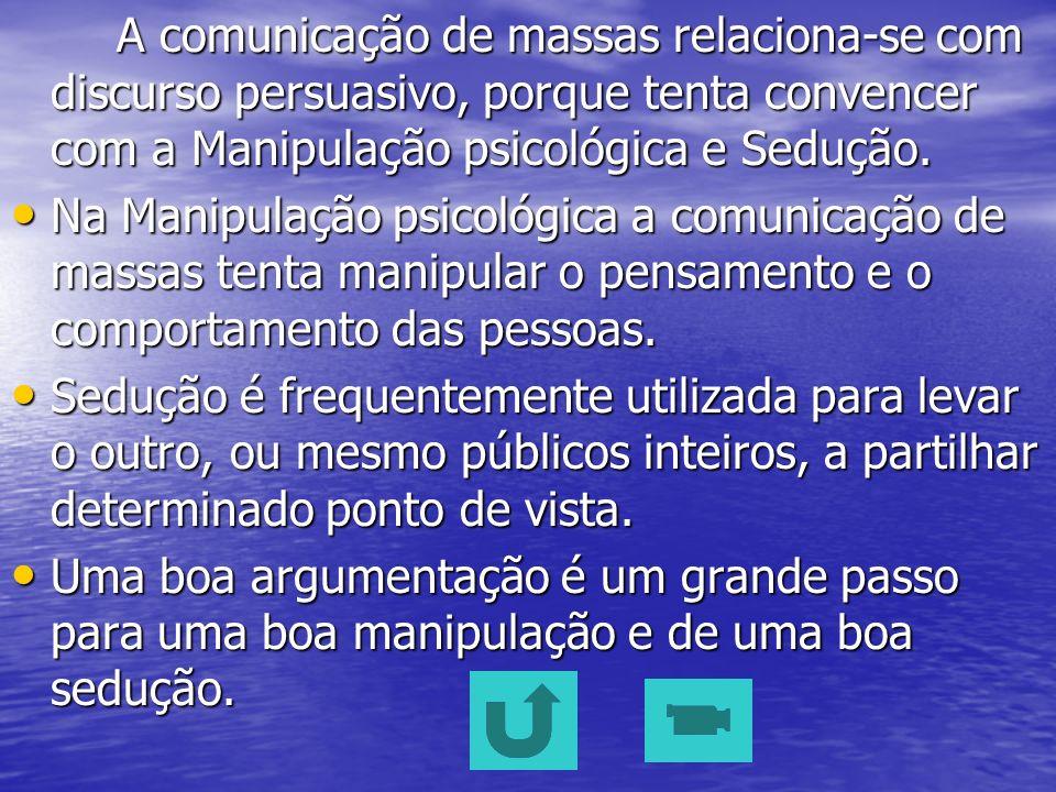 A comunicação de massas relaciona-se com discurso persuasivo, porque tenta convencer com a Manipulação psicológica e Sedução.