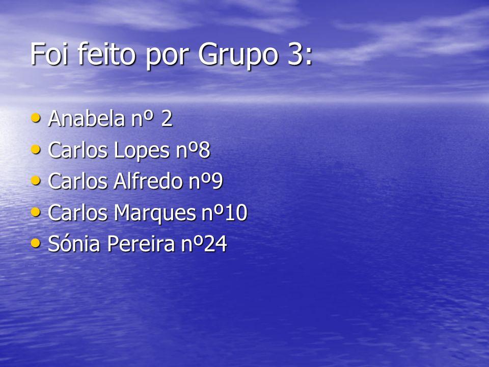 Foi feito por Grupo 3: Anabela nº 2 Carlos Lopes nº8