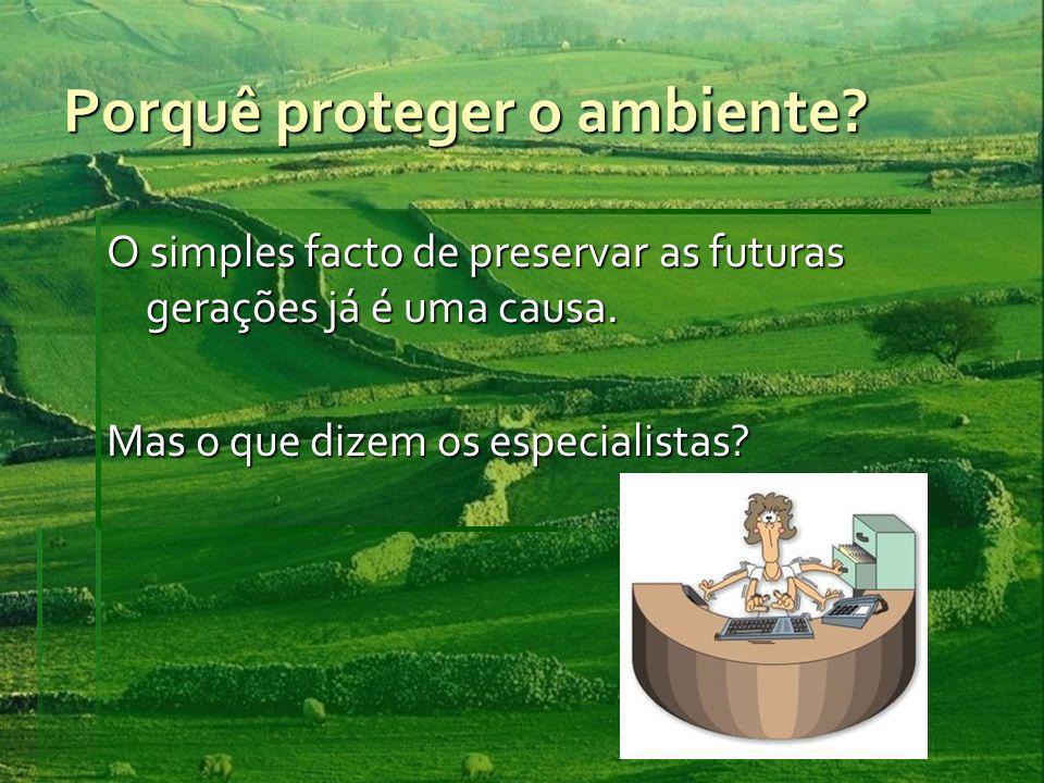 Porquê proteger o ambiente
