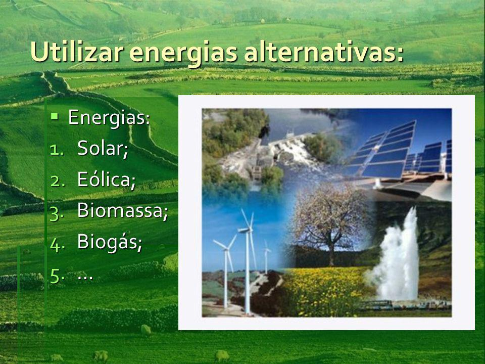 Utilizar energias alternativas: