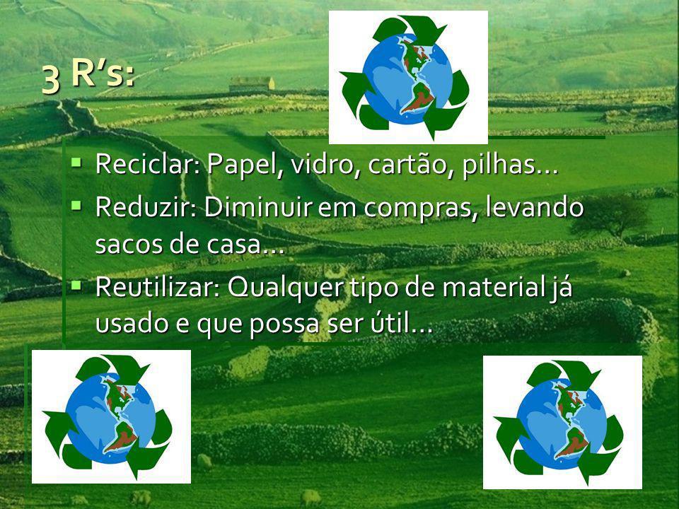 3 R's: Reciclar: Papel, vidro, cartão, pilhas…