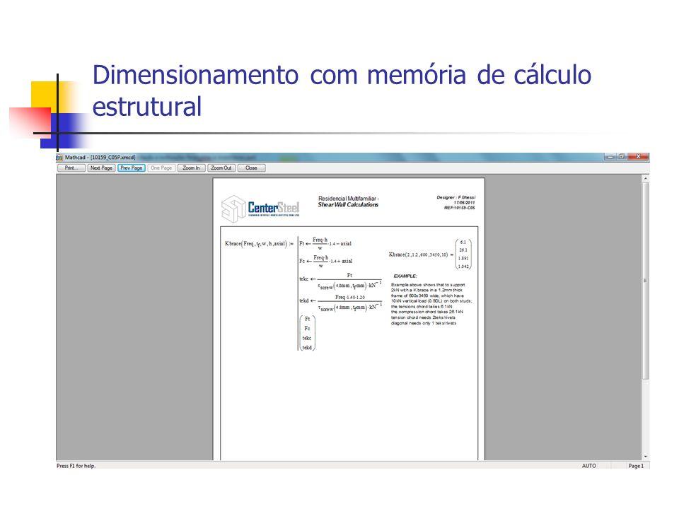 Dimensionamento com memória de cálculo estrutural