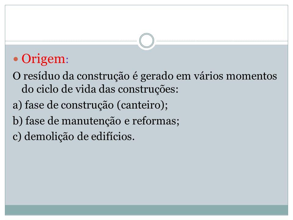 Origem: O resíduo da construção é gerado em vários momentos do ciclo de vida das construções: a) fase de construção (canteiro);