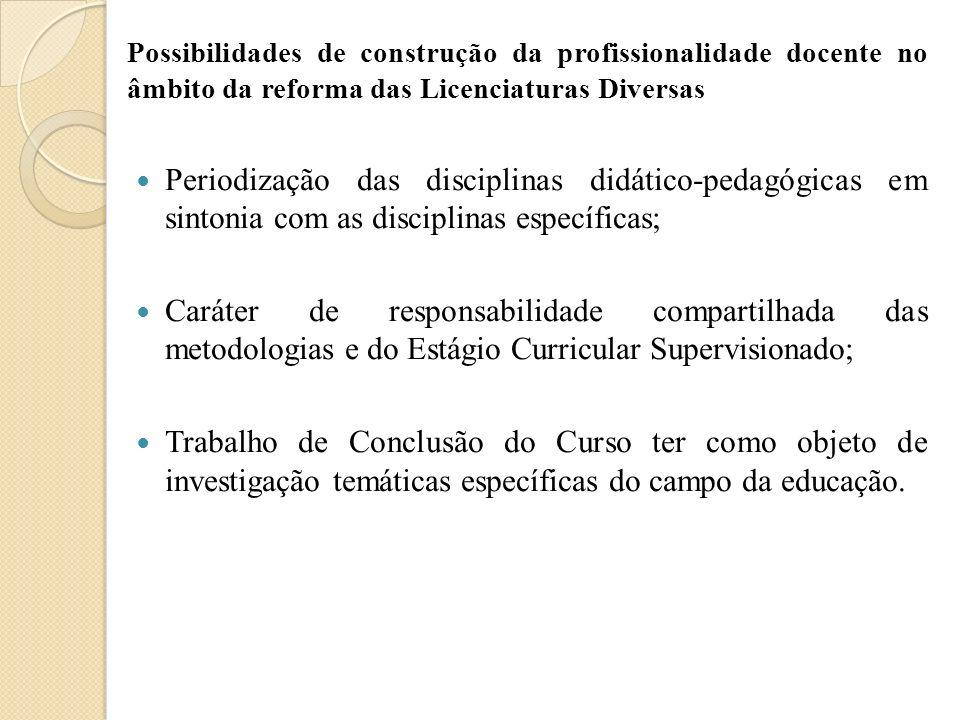 Possibilidades de construção da profissionalidade docente no âmbito da reforma das Licenciaturas Diversas