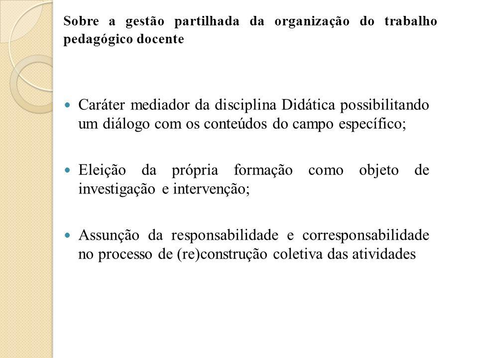 Eleição da própria formação como objeto de investigação e intervenção;