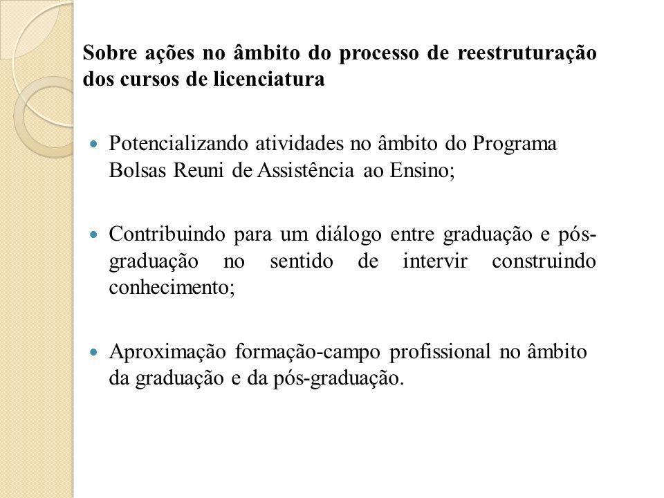 Sobre ações no âmbito do processo de reestruturação dos cursos de licenciatura