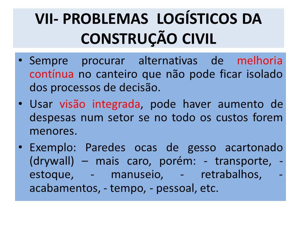 VII- PROBLEMAS LOGÍSTICOS DA CONSTRUÇÃO CIVIL