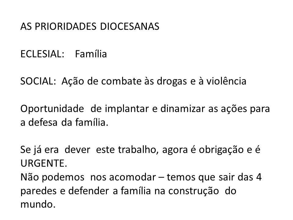 AS PRIORIDADES DIOCESANAS