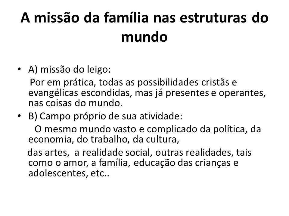 A missão da família nas estruturas do mundo