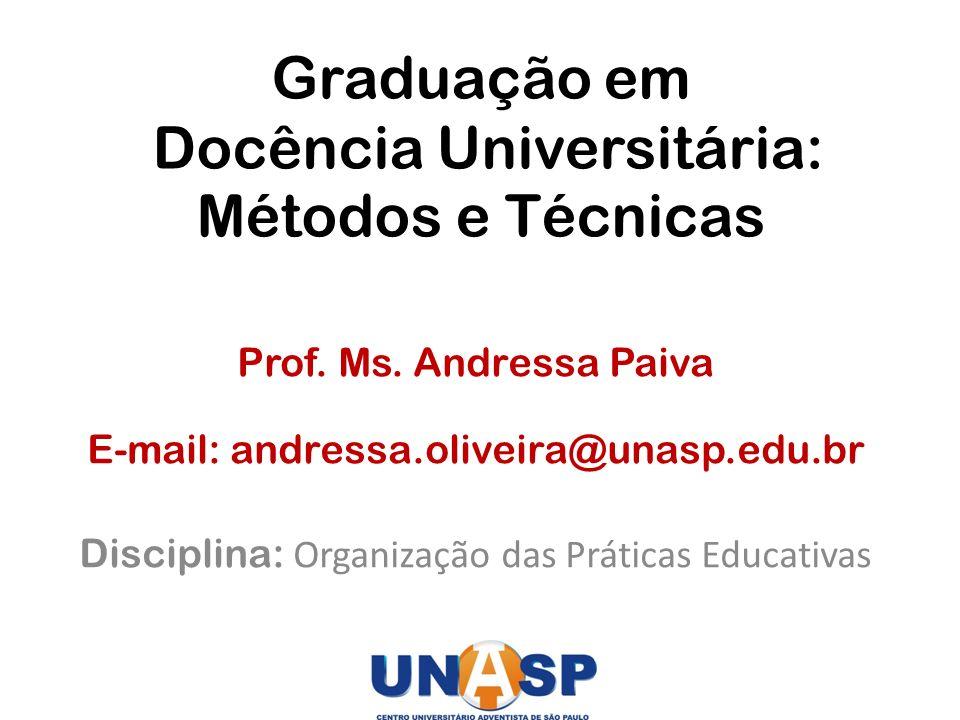 Graduação em Docência Universitária: Métodos e Técnicas