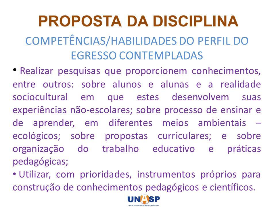 PROPOSTA DA DISCIPLINA