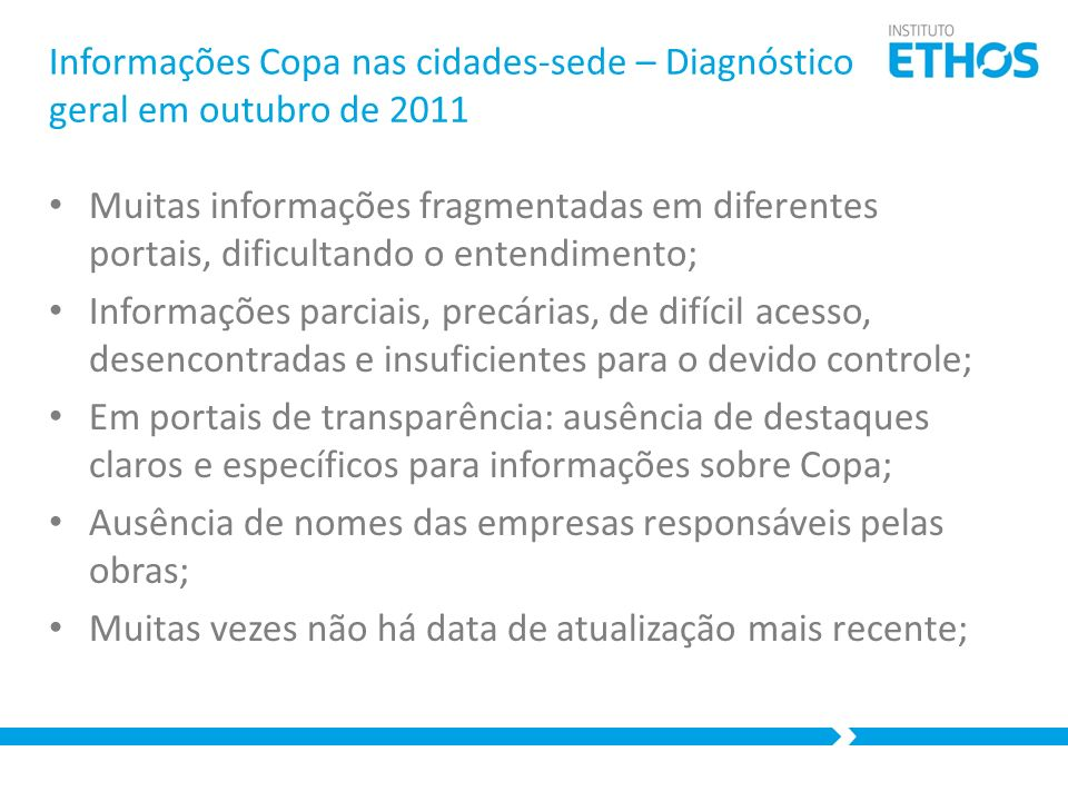 Informações Copa nas cidades-sede – Diagnóstico geral em outubro de 2011