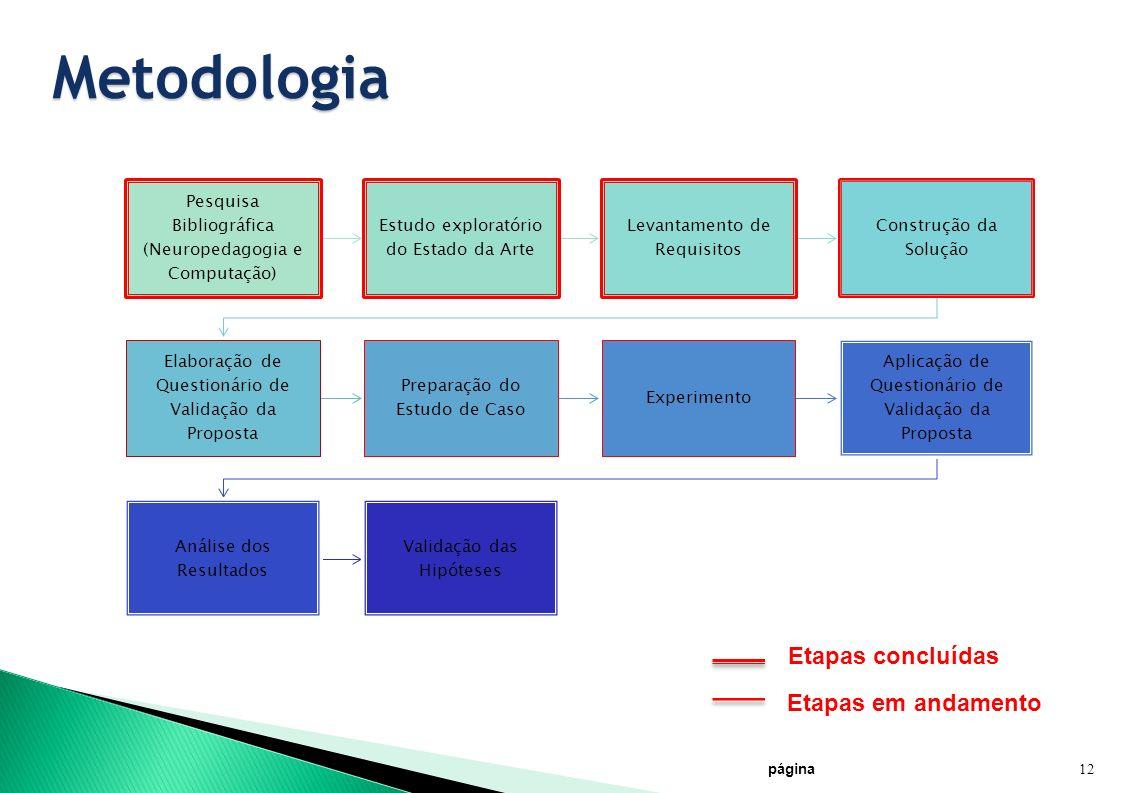Metodologia Etapas concluídas Etapas em andamento 12